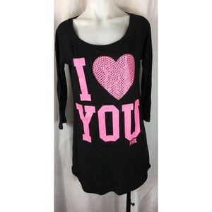 Pink Victoria's Secret I Love You sleep shirt 3942